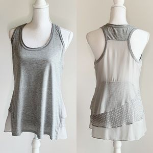 MM COUTURE GREY RUFFLE BACK TANK SIZE MEDIUM